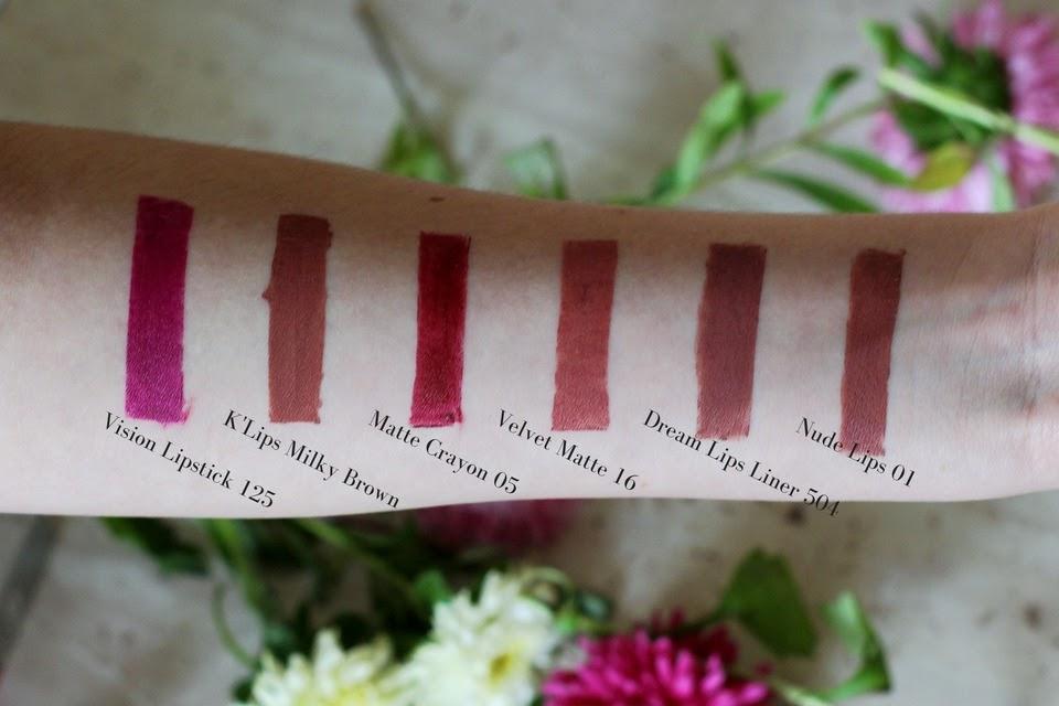 swatche Vision Lipstick 125, K'lips Milky Brown, Matte Crayon 05, Velvet Matte 16, Dream Lips Liner 504, Nude Lips 01 Wibo