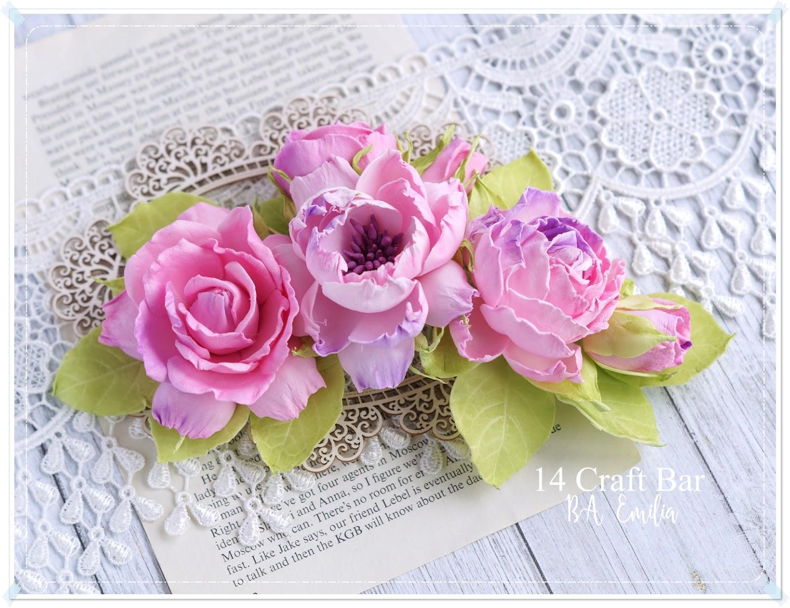 Silk Foam Flowers In Pink Scrap Art By Lady E