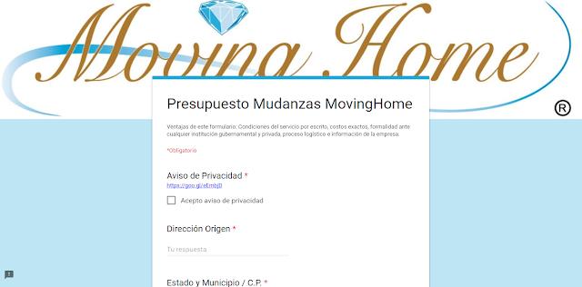 Formulario MovingHome Cotización de Mudanza