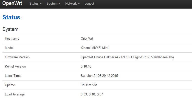 installing LuCI | OpenWrt on Xiaomi mini
