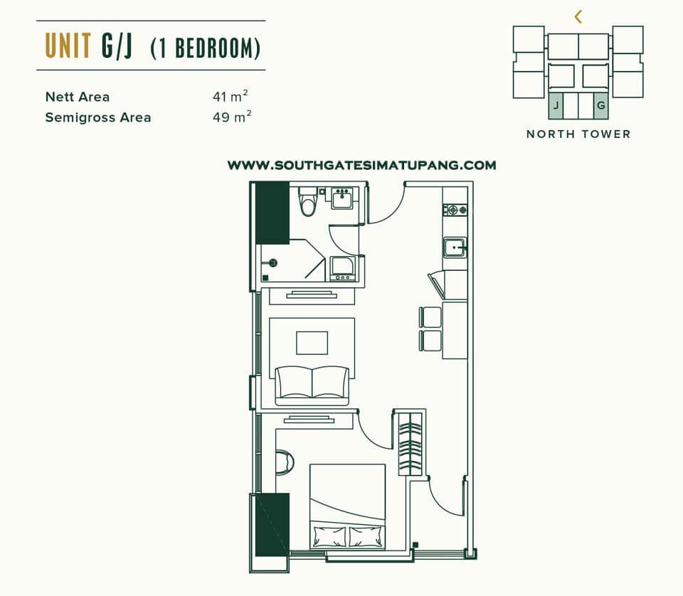 Floor Plan Unit 1 BR Apartemen Southgate Jakarta