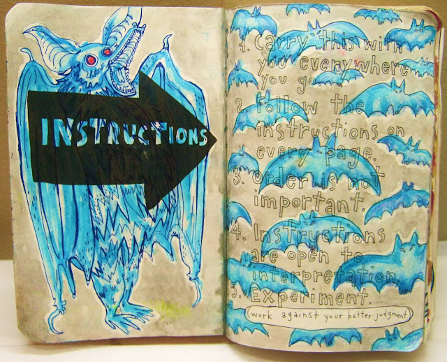 """Blue Bats Galore... The instructions page is definitely one of my favorite pages now. I used highlighter, crayons, and a little bit of India ink. """"Work against your better judgment"""" is the only instruction I need to keep in mind."""