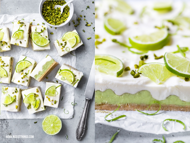 No Bake Cheesecake Avocado Limette Bars