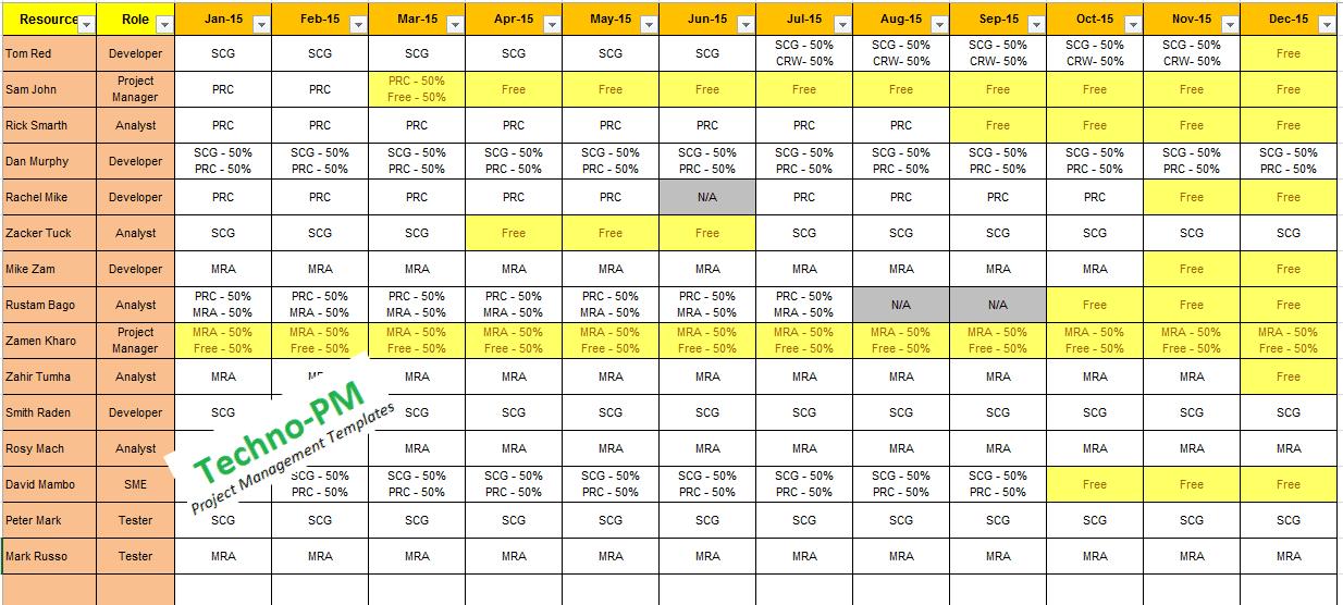 resource assignment matrix