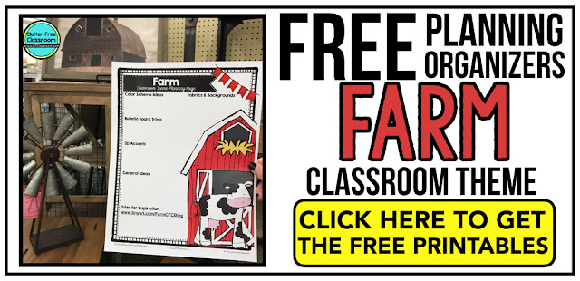 FARM Theme Classroom: If you're an elementary teacher who is thinking about a farm or barnyard theme then this classroom decor blog post is for you. It'll make decorating for back to school fun and easy. It's full of photos, tips, ideas, and free printables to plan and organize how you will set up your classroom and decorate your bulletin boards for the first day of school and beyond.
