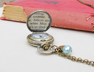 image atticus finch pocket watch necklace to kill a mockingbird two cheeky monkeys jewellery jewelry blue pearl bead heart charm