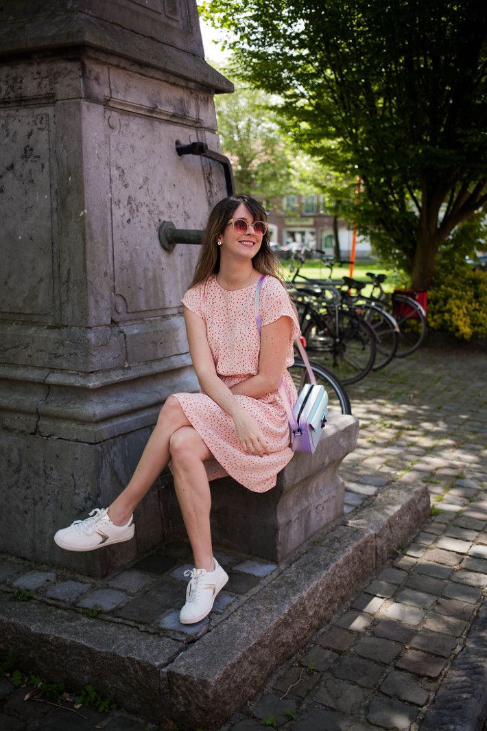 Outfit: pink dress, white kicks