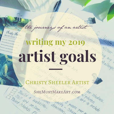 Blog post title graphic: Writing My 2019 Artist Goals