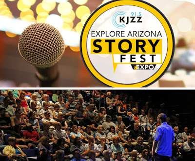 StoryFest logo, image of a storyteller on stage engaging an audience