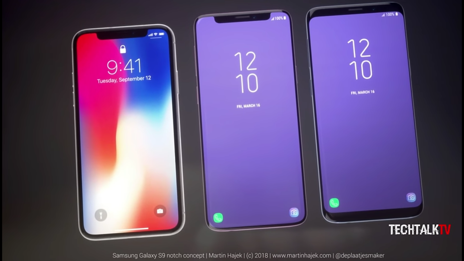 Side By Side - Apple iPhone X, Notched Galaxy S9, and the original galaxy s9