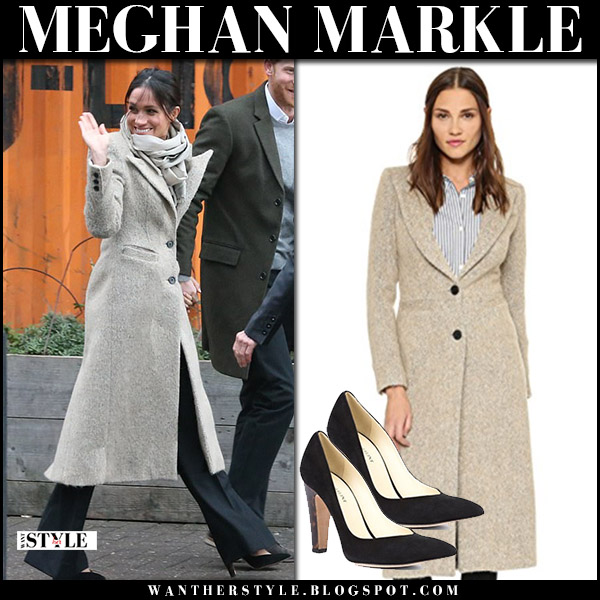 Meghan Markle in beige tweed coat smythe brando, black pants and black pumps sarah flint jay royal family fashion january 9
