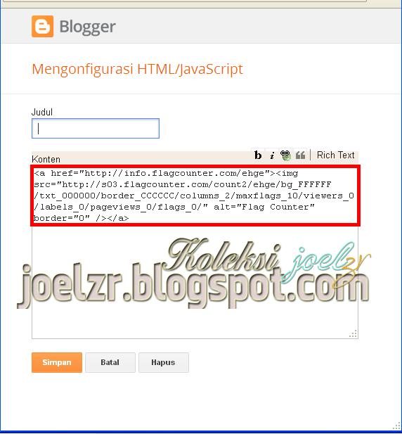 memasang daftar pengunjung di blog