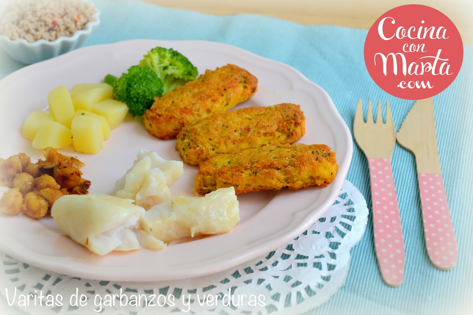 Receta baby led weanig, blw, recetas para bebes y niños, receta sana, casera, cocina con marta, garbanzos, patatas, zanahorias, varitas, hamburguesas, receta vegana