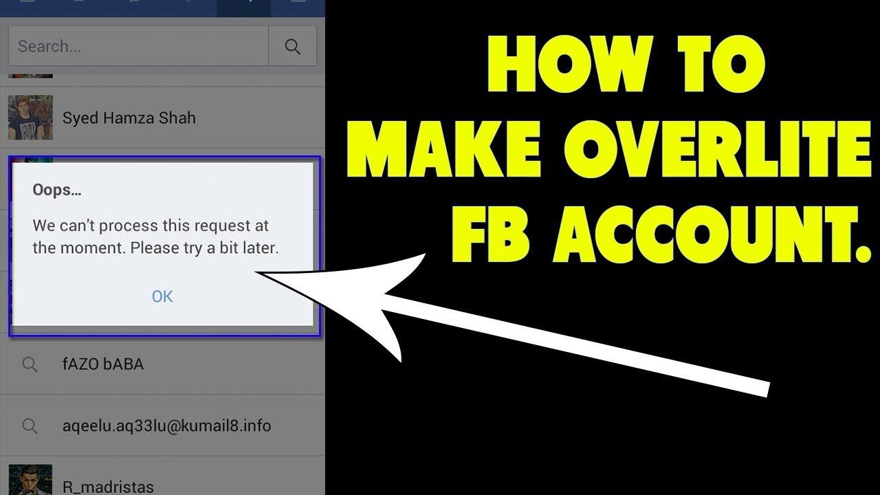 Facebook Overlite / OverLoad Id Kaise Banaye 2018 Latest Trick