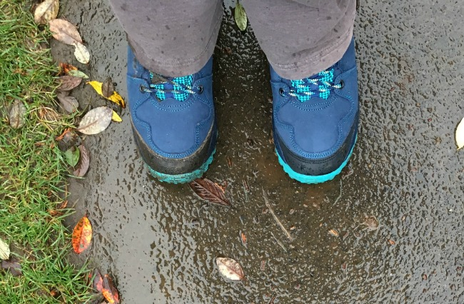 Everett-Vionic-Walking-Boots-image-of-boots-on-wet-path
