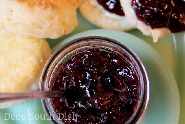 Preserves, made from fresh, ripe blackberries, sugar and lemon.