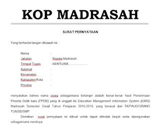 Contoh Surat Penyataan PPDB EMIS Madrasah