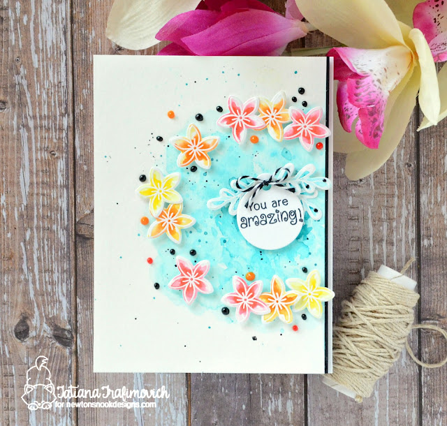 Floral Encouragement Card by Tatiana Trafimovich features Lovely Blooms by Newton's Nook Designs, #newtonsnook