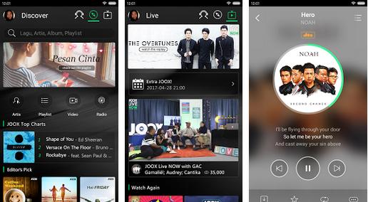 Tampilan Aplikasi JOOX Music VIP
