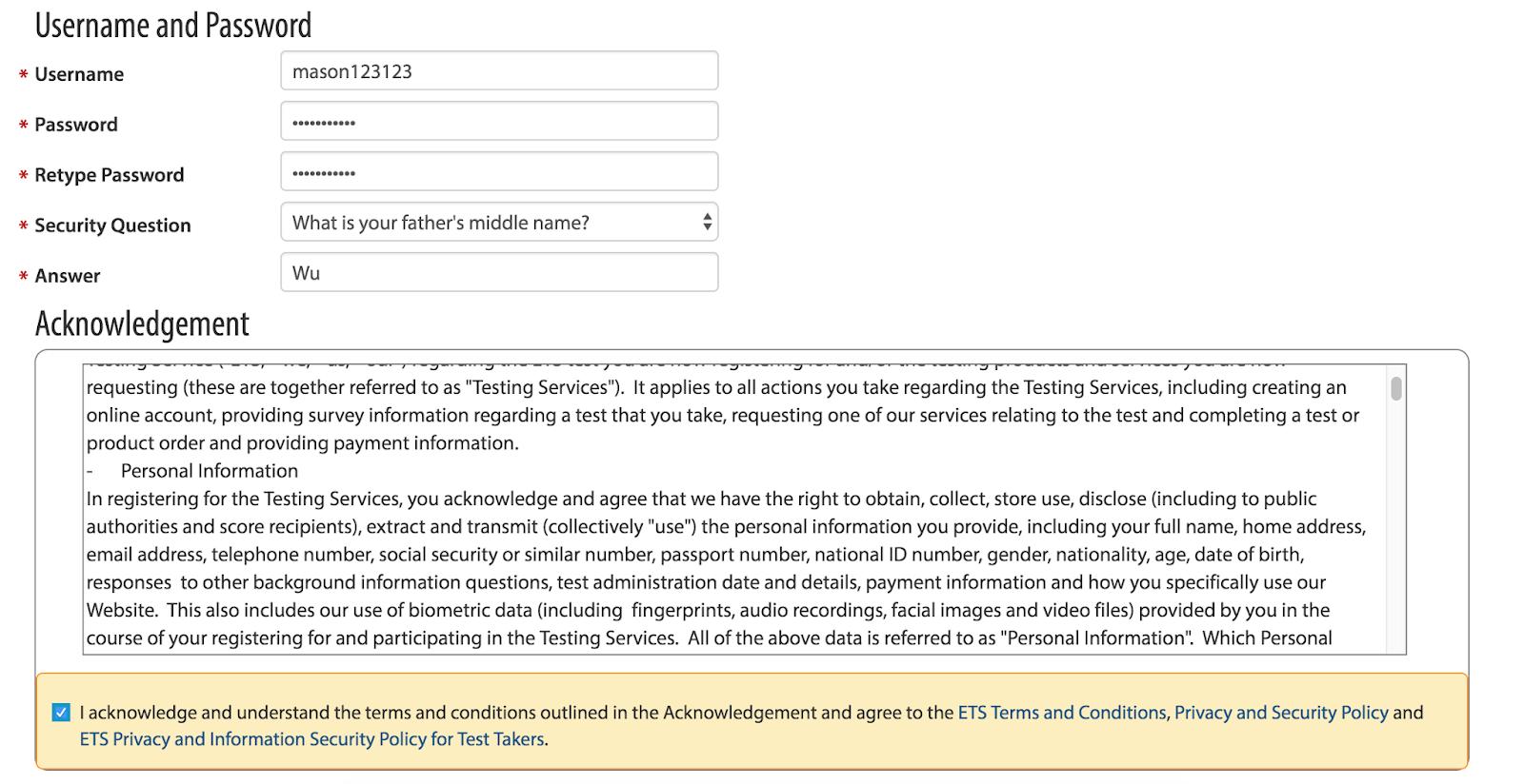 Mason GRE: GRE帳號註冊流程與問題解決 (最新版ETS註冊網頁) (TOEFL註冊也可參考)