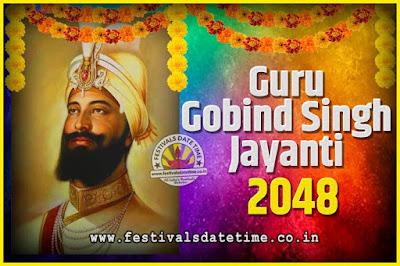 2048 Guru Gobind Singh Jayanti Date and Time, 2048 Guru Gobind Singh Jayanti Calendar