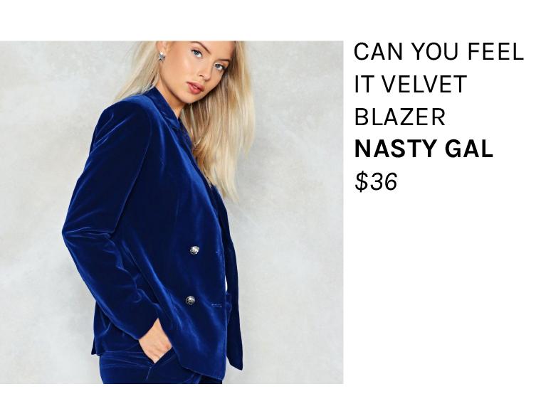 Blue Velvet Blazer Suit