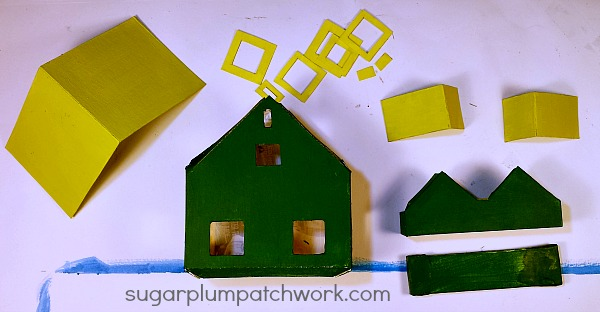 green glitter house pieces