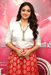 Keerthy Suresh in White Dress with Cute Smile at Pandem Kodi 2 Promotions 2
