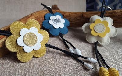 Portachiavi pelle cuciti a mano fiore