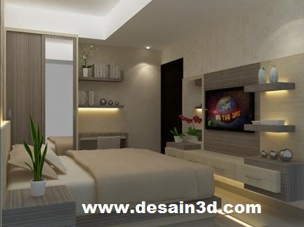desain renovasi kamar tidur meja kerja apartemen - 3d