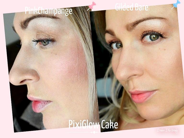 Pixi By Petra PixiGlow Cake - Pink Champagne Glow oraz Gilded Bare Glow - makijaż