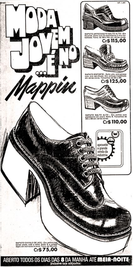 Propaganda do Mappin nos anos 70 apresentando a moda de calçados para jovens