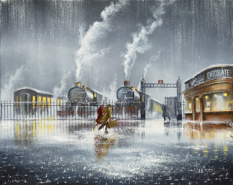 12-We-re-Almost-There-Jeff-Rowland-Paintings-of-Romantic-Scenes-in-the-Rain-www-designstack-co