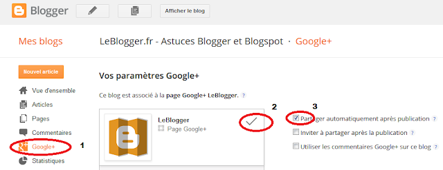 Partager  automatiquement les messages blogger sur Google+