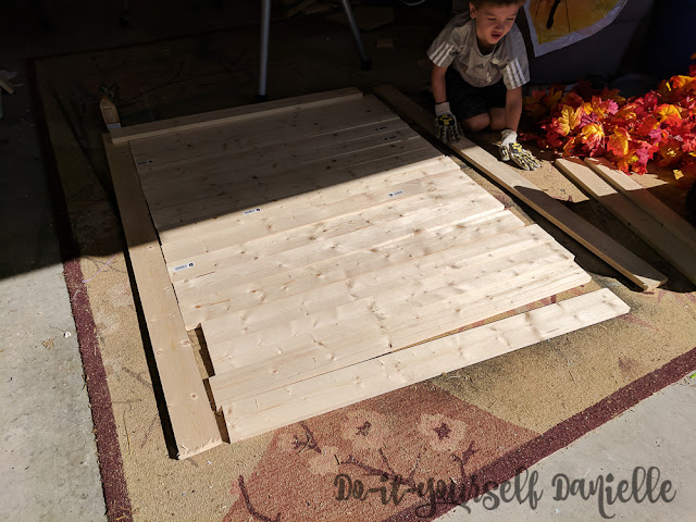 11 pine boards cut up for a photo backdrop.