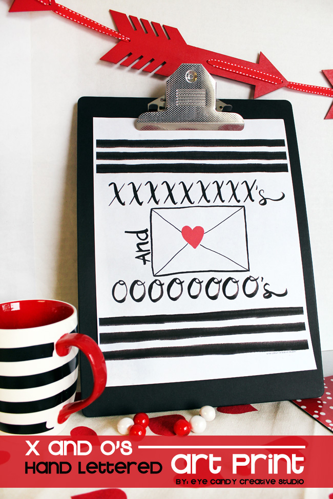 black & white stripe, love letter, hand lettering, XO, valentines day art
