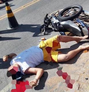 Vídeo mostra momento em que caminhão atropela e mata motoqueiro em Nova Floresta