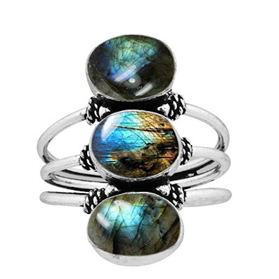 9.80ct, Genuine Labradorite 8x10mm Oval & .925 Silver Overlay Handmade Fashion Rings at Amazon.com