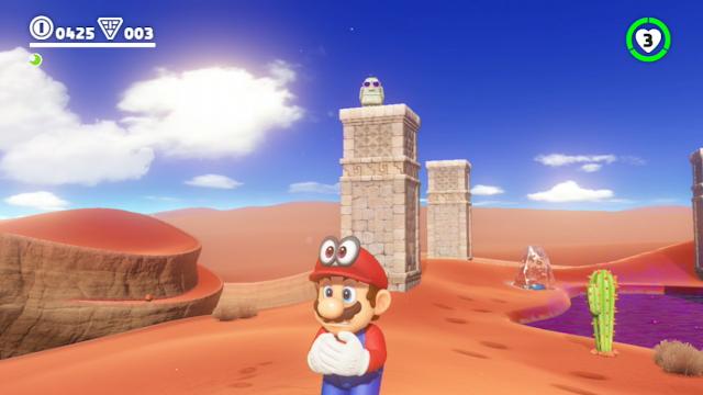 Super Mario Odyssey Moe-Eye desert abandoned left column pillar elevated surface
