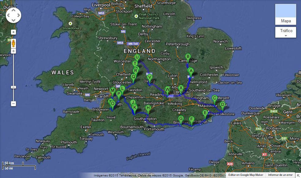 Mapa: itinerario 13 días por el sur de Inglaterra