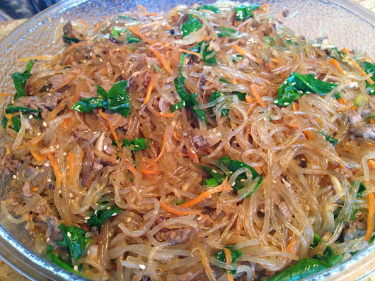 Chapchae--Korean Sweet Potato Glass Noodles ~ Chef Julia