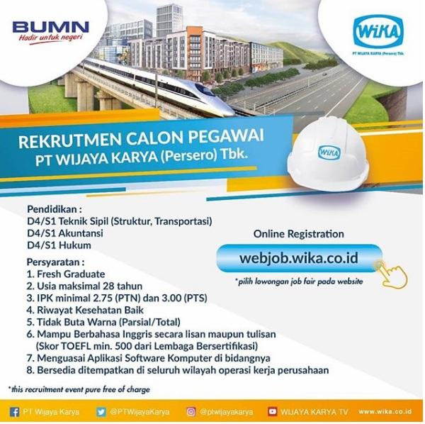 Rekrutmen BUMN PT. Wijaya Karya (Persero) Tbk Terbaru 2018