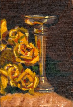Oil painting of plastic yellow roses alongside an Art Deco silver-plated vase.