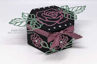 Linda Vich Creates: Rose Garden Window Box. The Window Box and Rose Garden Thinlits team up with the Sale-A-Bration Glimmer Paper in this darling gift box.