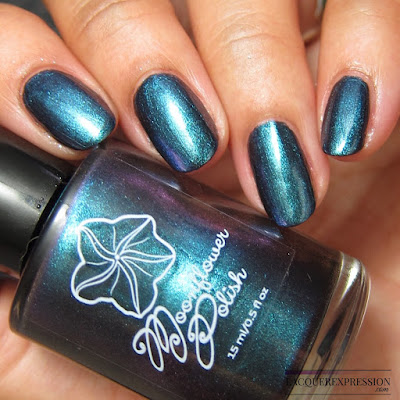 Nail polish swatch of Moonflower Polish Celes-teal from the multichrome collection