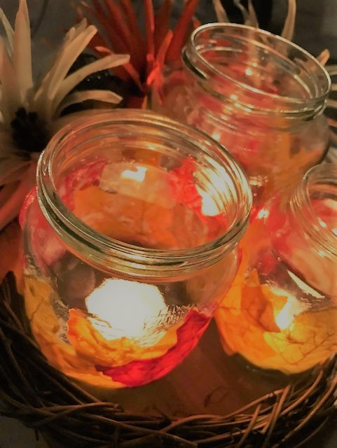 Completed tealights sat in a wreath