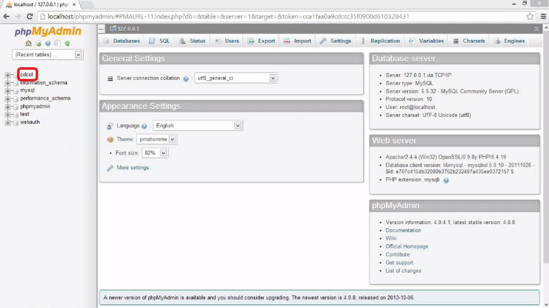 how to create database schema in phpmyadmin