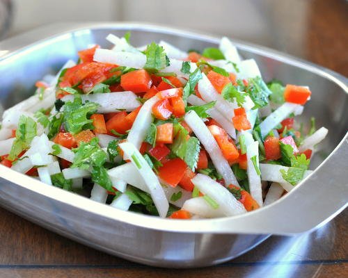 Daikon & Pepper Salad, crisp and fresh, another healthy vegetable salad ♥ AVeggieVenture.com.