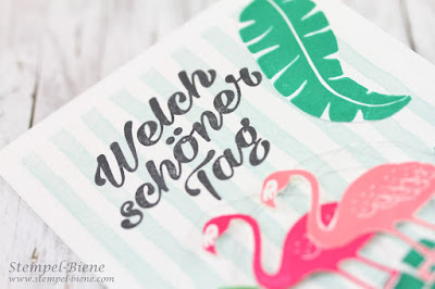 Sommerfeeling; Sommerkarte; Flamingokarte; Stampinup Popofparadise; Stempel-Biene; stempelnd durchs jahr