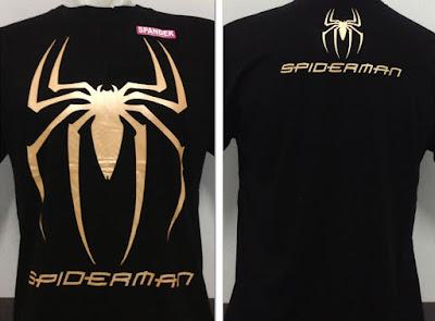 Kaos Baju Distro Logo Spiderman Gold